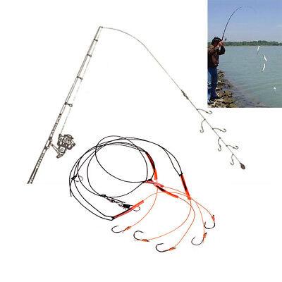 3pcs//set Fishing String 5 Hooks Set Fishhook Stainless Steel Rigs Swivel Fishing