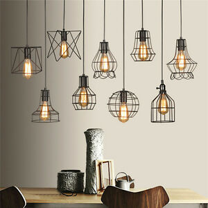 Vintage industrial style metal cage wire frame ceiling pendant light image is loading vintage industrial style metal cage wire frame ceiling greentooth Images