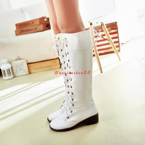 Women/'s lady l Mid Calf  Long Lace Up Boots Shoes gothic low heel riding  boots