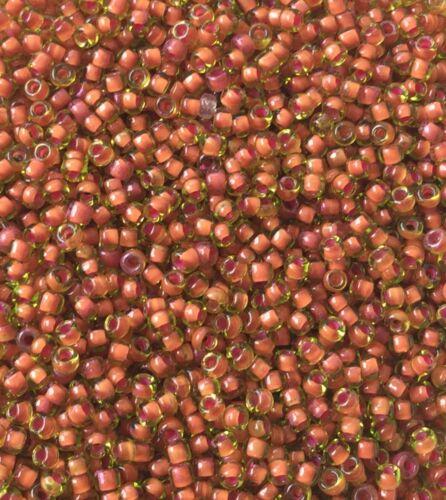 28Grams 11//0 Japanese seed beads Halloween Orange Lined Peridot Glass Beads
