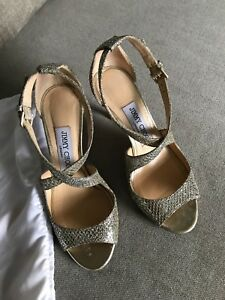 bf3a1c59adb2 Image is loading Jimmy-Choo-Louise-Glitter-Champagne-Sandals-Size-35