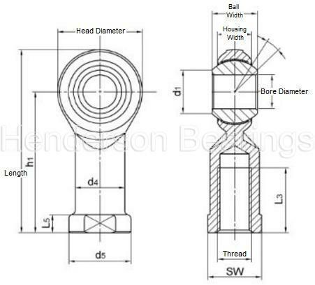 PHS6EC 6mm Rose Joint Female Rod End Bearing M6 Right Hand Maintenance Free RVH