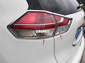 4PCS ABS Chrome Rear Tail Light Lamp Cover Trim For Nissan Rogue 2014 2015 2016