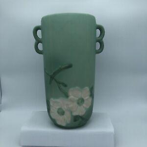 "Antique Weller Green Dogwood Double Handle Vase Artist Signed 10"" W38"