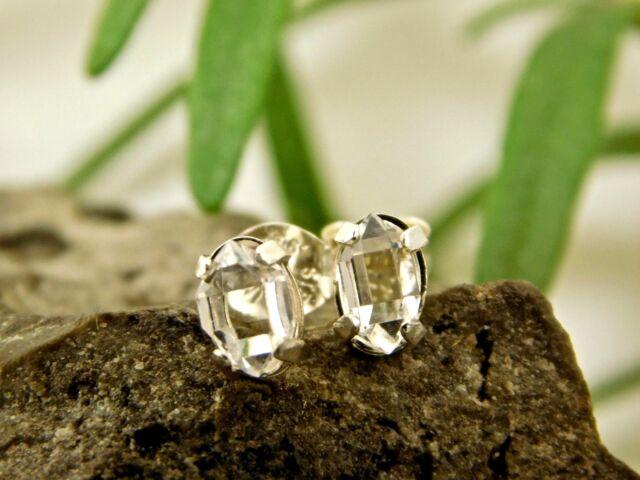 4x6 mm A Grade Herkimer Diamond Crystal Earrings set in Sterling Silver Q1