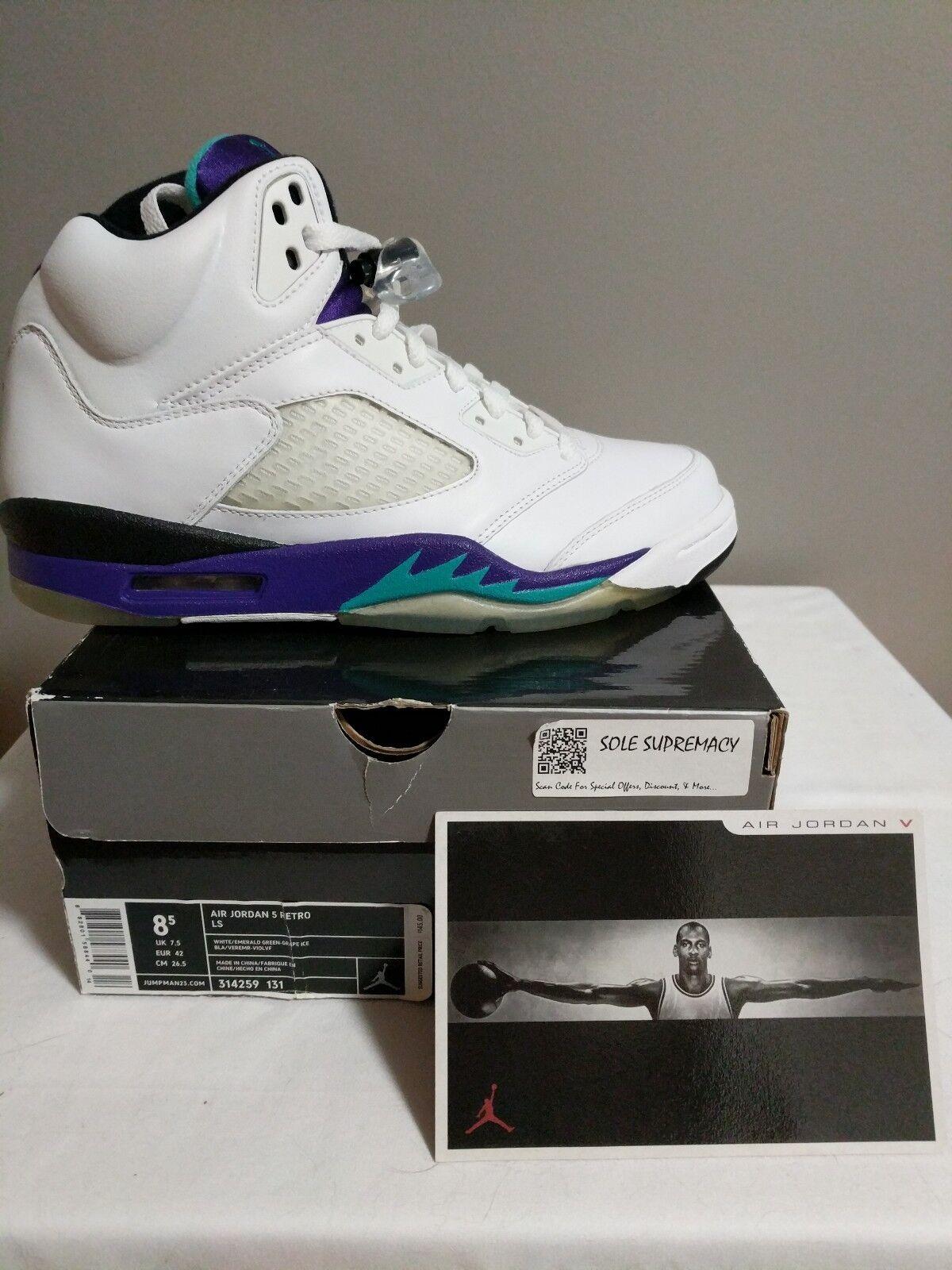 Jordan 5 Uva blancoo púrpuraa Negro Talla 8.5