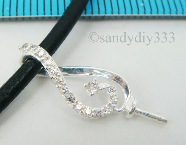 11x STERLING SILVER CZ CRYSTAL PEARL BAIL PIN PENDANT SLIDE CONNECTOR #2076H
