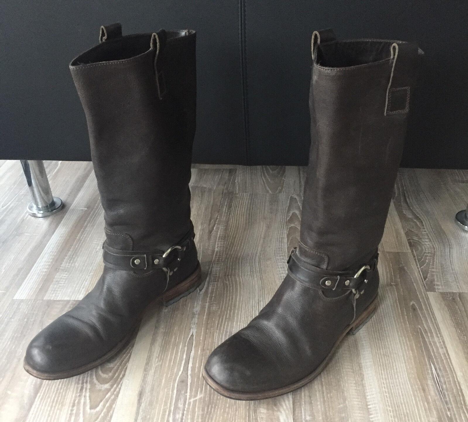 Vero Cuoio Vibram Stiefel Lederstiefel Made in  Gr.38 100% Leder Top Zust.