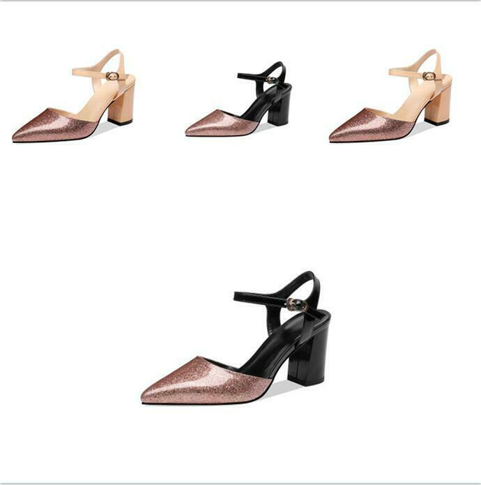 Ladies shoes Sequins Pointy Sexy Sandals Ankle Strap Slingbacks Patent Leather Top