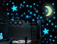 Fashion 1Moon & 100pcs Star 3D DIY Room Home Glow In The Dark Wall Sticker Decor