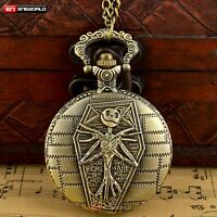 Vintage The Nightmare Before Christmas Jack Skull Dial Pocket Watch Quartz Chain