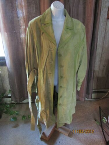 Vintage Ladies Green Suede Leather Coat Willi Smit