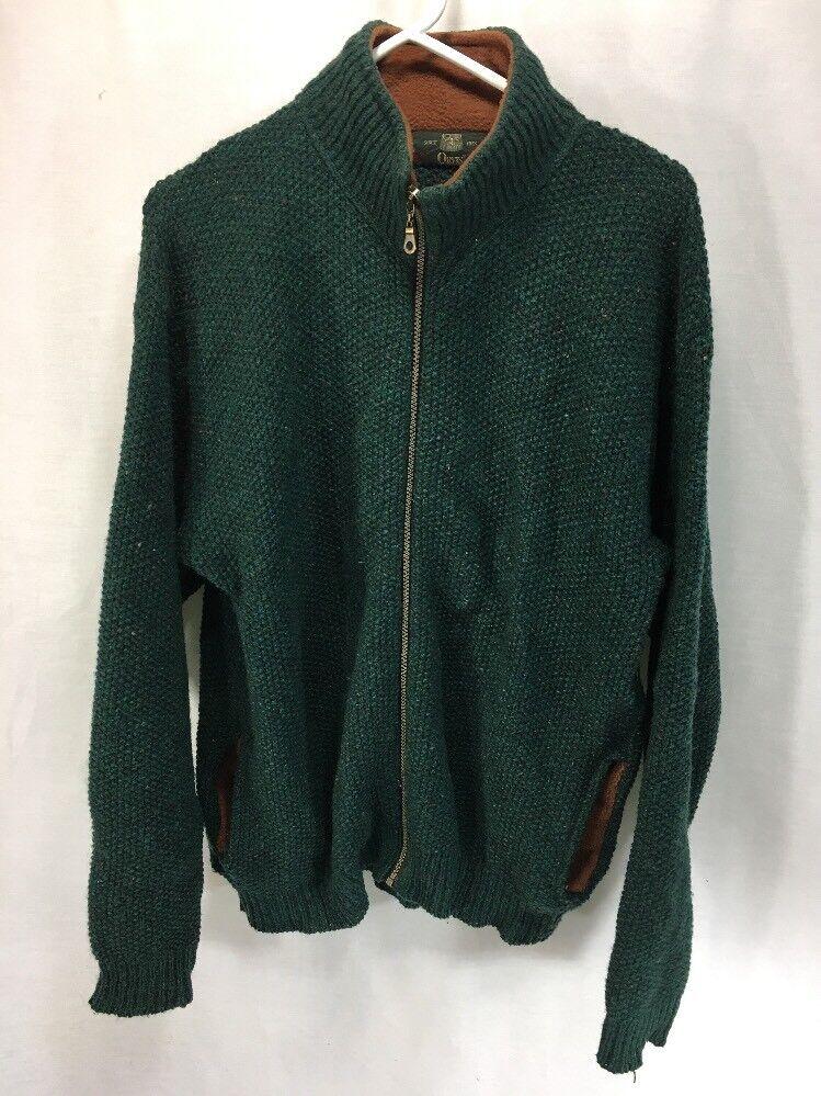 Orvis Wool Sweater Cardigan  Herren Medium Grün Full Zip Fleece Trim USA