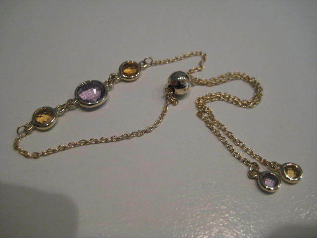 gold bracelet amethyst & citrine 9 carat yellow gold FITS ALL AGES 0-100