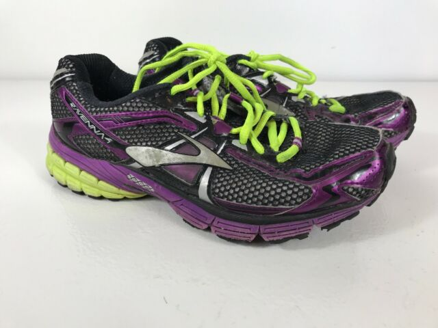 83aac3ed737 WOMENS BROOKS RAVENNA 4 RUNNING SHOES SIZE 8 EUR 39 BLACK PURPLE NEON YELLOW