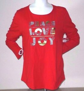 e79d3ad385dc48 PEACE LOVE JOY GLITTER GRAPHIC TEE WOMEN S PLUS SIZE 2X NEW WITH TAG ...