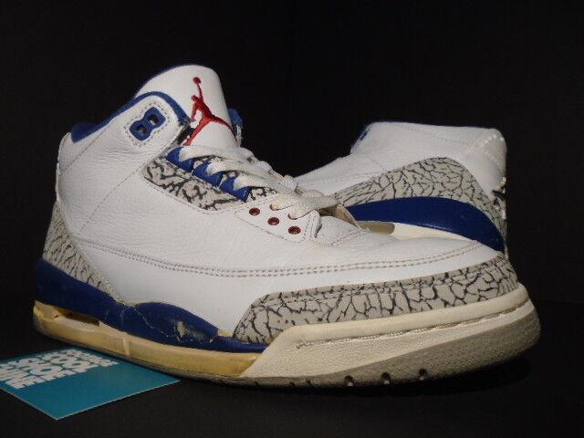 2001 nike air jordan iii 3 vintage white true blue di cemento grigio og 136064-141 9