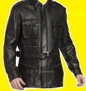 Men-039-s-German-Black-Naval-Military-Style-Genuine-Leather-Jacket-Coat