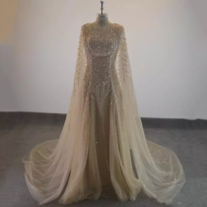 Elegant-Formal-Long-Evening-Dress-Champagne-Tulle-Cape-Beaded-Prom-Party-Gown