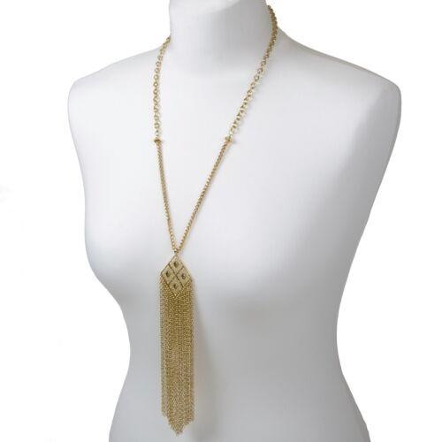 Long Gold Pendant Necklace 70s Tassel Fringe Festival Jewellery Chain Bohemian