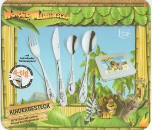 Kinder-Besteck-WORLD-OF-MADAGASCAR-4-Teile-mit-Gravur-nur-19-95-EUR