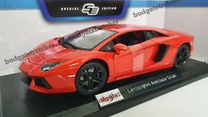 1-18-Maisto-escala-Diecast-Modelo-Coche-Lamborghini-Aventador-Coupe-Rojo-Naranja