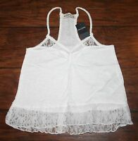 Abercrombie Girls Small White Shine Lace Hem Tank Top