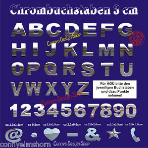 10 stk 3d chrom buchstaben zeichen aufkleber 3cm 10 zeichen chrombuchstaben ebay. Black Bedroom Furniture Sets. Home Design Ideas