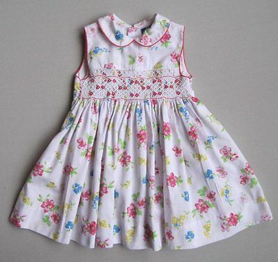 CARRIAGE BOUTIQUES Girls 12 Mo White Pink Blue Floral Smocked Dress EUC