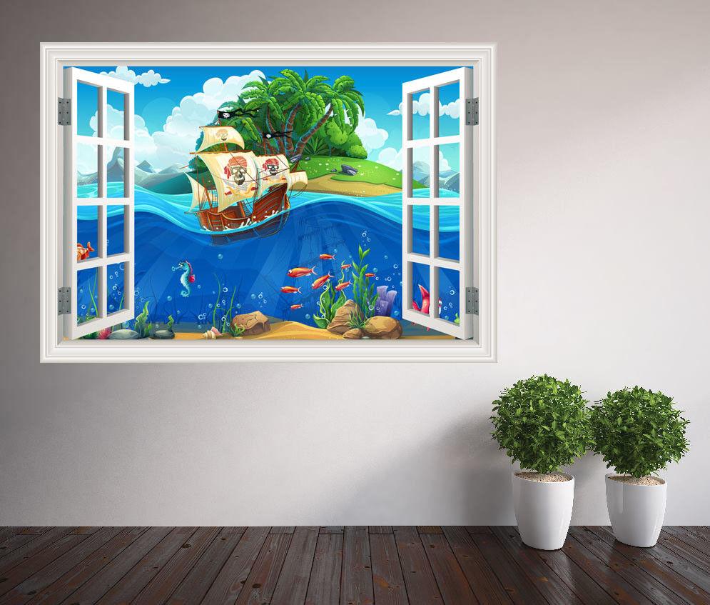 Cool Fun  s Désert Île et Créatures Créatures Créatures de la Mer Fenêtre Autocollant Mural   Aspect Attrayant  c64e81