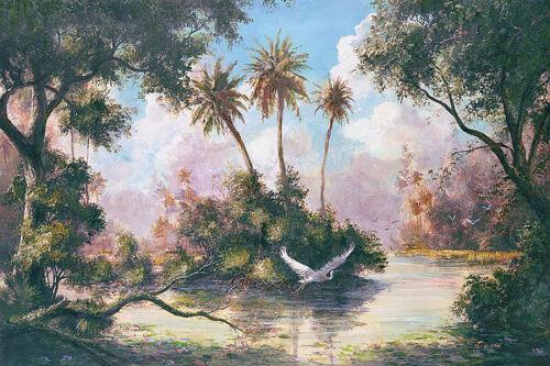 Glades Hammock Art Fronckowiak Tropical Palm Tree Bird Print Poster 24x36