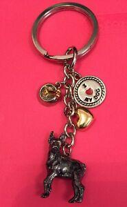 NEW I Love Dogs 4 Charm Metal Keychain Pet Dog Puppy Boxer Bone Bowl Bracelet
