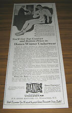1921 Vintage Ad Hanes Winter Underwear Man in Long Johns Winston-Salem,NC