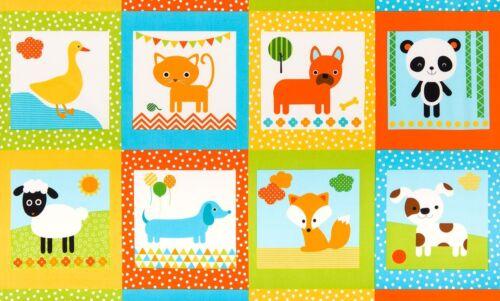 "Fabric Baby Urban Zoologie Bermuda Animals on Cotton Panel 24/""x42/"""