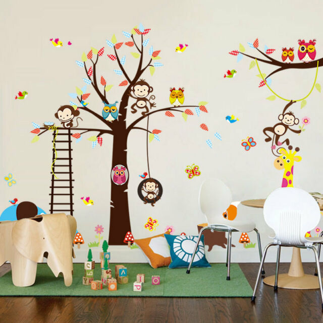 Monkey Owl Animals Tree Removable Vinyl Wall Decal Stickers Kids Room Home NEW