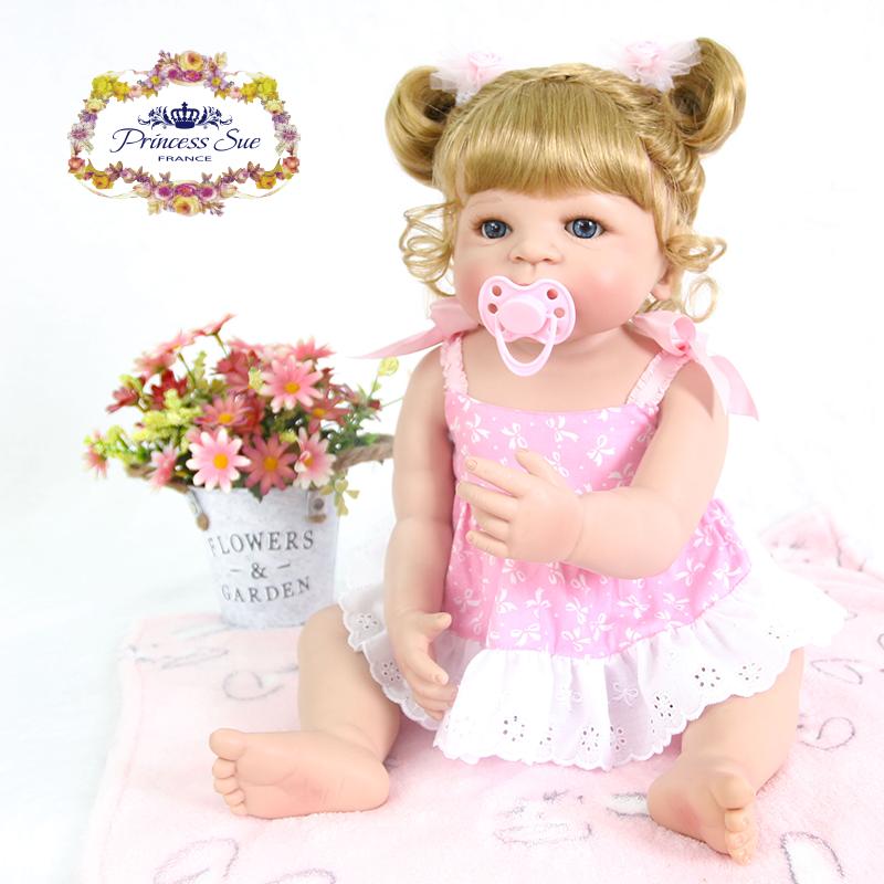 Carino rosa Lavabile Bambole Reborn Bambino Baby 22  corpo pieno VINILE ragazza regalo da bagno