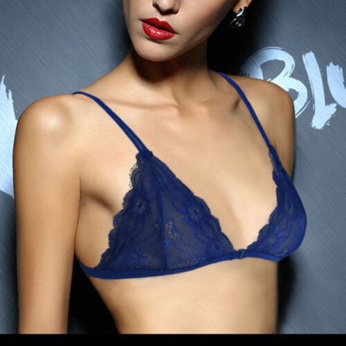 See Through Front Clourse Lace Bra Triangle Floral Sheer Mesh Lingerie Underwear
