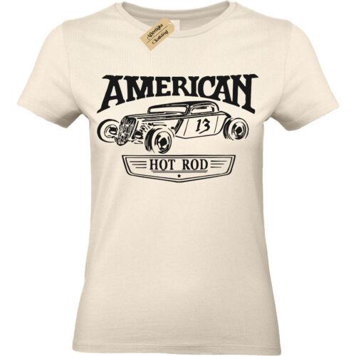 American Hotrod T-shirt USA Classique Rockabilly Voiture Femme Femmes Top