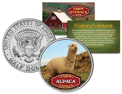 Coin with COA ALPACA Farm Animal Collection Genuine JFK Kennedy Half Dollar U.S