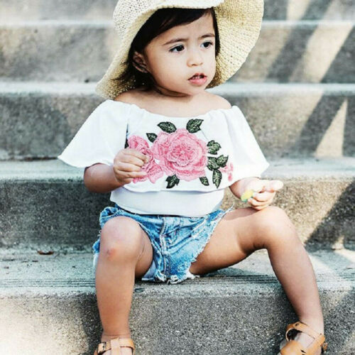Toddler Kids Baby Girls Outfits Flower Rose Tops Denim Shorts Pants Clothes Set