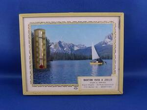 ADVERTISING-THERMOMETER-BRANTFORD-WATCH-amp-JEWELLER-ONTARIO-SAIL-BOAT-LAKE
