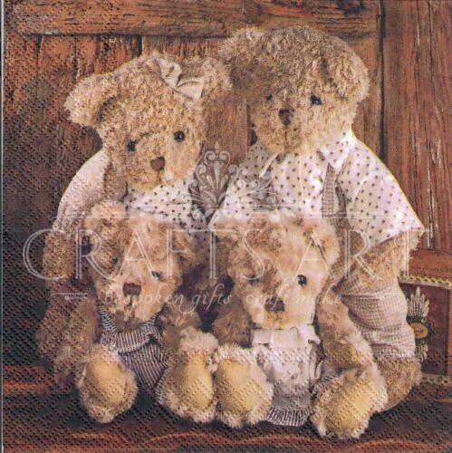 490 4 Single paper decoupage napkins Teddy Bear family