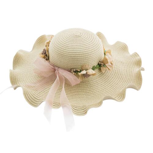 Foldable Women Straw Sun Hats Floppy Wide Brim Ladies Summer Beach Travel Cap