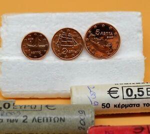 GRECE 2009 : 1 série de 3 pièces 1,2 et 5 cent de rouleaux