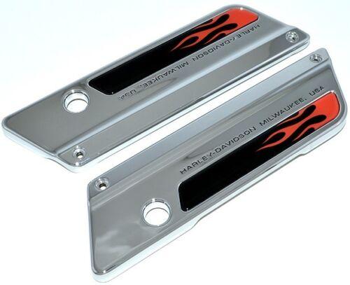 Black /& Red Flame Saddlebag Latch Reflector Insert Decals for 93-13 Harley