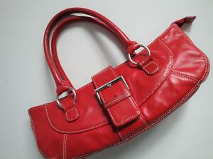 Verarbeitung finden 2019 Ausverkauf spätester Verkauf Details zu FOSSIL Echt Leder Tasche Sommer Handtasche Rot Silber