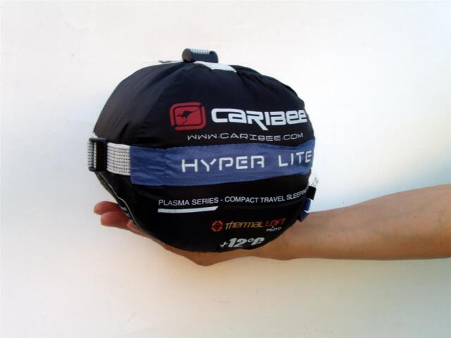 Caribee Compact Hooded Sleeping Bag 12°C Plasma Hyper Lite Camping Blue Bike NEW