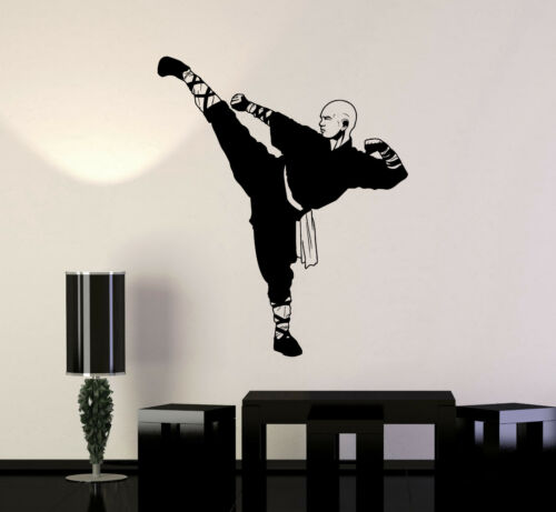 ig4967 Vinyl Wall Decal Shaolin Monk Warrior Asian Fighter Buddhist Stickers