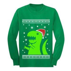 Dinosaur Christmas Sweater.Details About Ugly Christmas Sweater Big Green Trex Santa Funny Long Sleeve Kids T Shirt