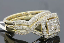 10K YELLOW GOLD 1.25 CARAT WOMENS REAL DIAMOND ENGAGEMENT RING WEDDING BAND SET